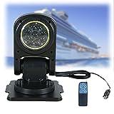 Zusammenklappbar Marine Suchscheinwerfer, 12v-24v Schiff LED Suchscheinwerfer mit Fernbedienung, 360 Grad Drehbar Fernscheinwerfer, für Yachten Fischerboote Polizeiboote Autos LKW13.4*9.3*10.3in,100w