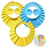Baby Shampoo Cap, ZoneYan 3Pcs Einstellbare Baby Duschhaube, Shampoo Schutz für Kinder Ohren, Kinder Shampoo Kappe, Duschhaube Kinder, Kinder Dusche Schützen, für 0-9 Jahre-Blau Gelb