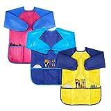 Baitaihem Malschürze für Kinder, wasserfest, langärmlig, mit 3 Taschen, für Kinder im Alter von 3–7 Jahren, 3 Stück