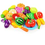 Ohomr Kinder Küche Spielzeug Obst Gemüse Spielen Fun Pot Geschirr Messer Spielzeug Schneidebrett Speisen Spielset 18pcs Pretend Kochen