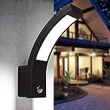 LED Aussenleuchten Bewegungsmelder Wand-leuchte Wandlampe Flurleuchte Fluter 15W schwarz modern IP54 PIRIT-B