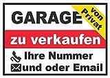 HB-Druck Schild Garage Privat waagerecht A0 Rückseite selbstklebend