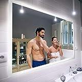 Badspiegel 100x80cm mit LED Beleuchtung - Wählen Sie Zubehör - Individuell Nach Maß - Beleuchtet Wandspiegel Lichtspiegel Badezimmerspiegel - LED Farbe zu Wählen Kaltweiß/Warmweiß L01
