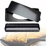 Tarteform Rechteckig Quicheform BKJJ 2 Stücke Rechteckige Tortenform, Wellenrand Quicheform mit Hebeboden, Mini Quicheform Rechteckige Tartelette für Kuchen Obstkuchen - Schwarz