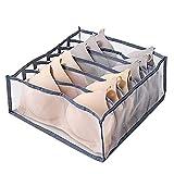 MCTY Unterwäsche Schublade Organizer Faltbare Unterwäsche Aufbewahrungsbox mit 6/7/11 Gitterfächern Nylon Box für Socken Hals Krawatten Schals und Taschentücher