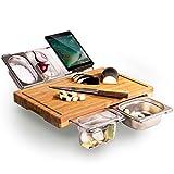 FASZFSAF Multifunktionales Schneidebrett, Ausziehbares Bambus-Schneidebrett-Set mit 4 Behältern, für Küche mit Saftrille, Umweltfreundliches Hack- und Servierbrett, Fleischbrotfrüchte