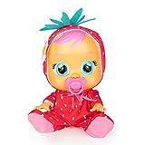CRY BABIES Tutti Frutti Ella – Interaktive Puppe mit Erdbeerduft, echten Kullertränen und Babygeräusche; Für Mädchen & Jungen Puppe ab 2 Jahre