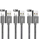 OTISA 3 * 1.5M Phone Ladekabel USB Kabel für Phone X/XR/Max/8/8Plus/7/7Plus/6 Plus/6/5/5S/6s,Pad Mini/Air,Pod 5/7(Silbrig)