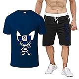 HBRE Tokyo 2020 Olympia T-Shirt,Fashion Printing Kurzarm & Shorts Basketball Anzug,Atmungsaktiv Schnell Trocknendes Outdoor Rugby Sport Kurzarm,Hip Hop Kleidung füR Party,Dark-Blue-2,2XL