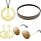 WILLBOND Hippie Kostüm Satz für Damen und Herren mit Sonnenbrille, Frieden Zeichen Halskette und Frieden Zeichen Ohrring sowie Böhmen Stirnband, damit Sie auf der Party Attraktiv Werden(Böhmen Stil)