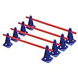 RHINOS sports Steckhürdenset 4er | 8 Blaue Kegel: 22,5cm | 4 rote Stangen: 1