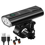 RYACO Fahrradlicht, 3 LEDs, 2400 Lumen, 5200 mAh, USB wiederaufladbar, Fahrradscheinwerfer mit Powerbank-Funktion, wasserdichte Vorderrad-Licht, Mountainbike-Licht, LED-Taschenlampe