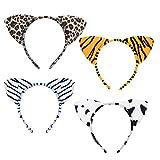 LANMOK Haarreif Tier mit Ohren, Tier Cosplay Kostüm Haarband Leopard Tiger Kuh Zebra Stirnband Wildtier Accessoire für Karneval Party Kinder Erwachsene