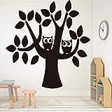 LCFF 3D-Wandaufkleber, Motiv: Zwei Eulen auf einem Cartoon-Baum, Wandaufkleber, Aufkleber, 46 x 43 cm, dekorative Vinyl-Tapete, abnehmbare Kinderzimmer-Wanddekoration