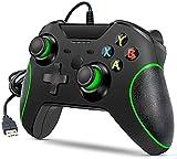 Wired Controller für Xbox One, Kabelgebundenes Gamepad Joystick Ergonomie und Dual Vibration Game Controller mit 3.5mm Audio Jack Joypad für Xbox One / One S / One X / Windows 7/8/10 (Schwarz)