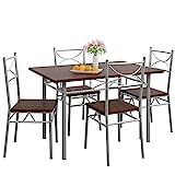 Casaria 5 TLG Sitzgruppe Paul Esstisch mit 4 Stühlen Eiche dunkel Esszimmer Küche Essgruppe Küchentisch Tisch S