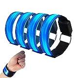 4 Stuck LED Armband, Reflective LED Armbänder Leuchtband Reflektor Kinder Nacht Sicherheits Licht Für Laufen,Bergsteigen, Running, Jogging Und Outdoor Sports
