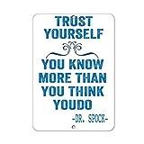 2013 Tolles Blechschild aus Aluminium mit Aufschrift 'Trust Yourself You Know More Than You Think Youdo', Geschenk für drinnen und draußen, 30,5 x 20,3 cm