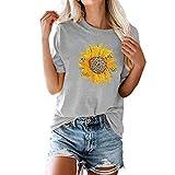 JINXL Damen Einfarbig T-Shirt Sommer Sonnenblume Drucken Rundhals Kurzarm Tuniken Shirt Frauen Frühling Mode Leopardenmuster Blumen Bluse Tops Lässige Lose Große Größe Oberteile Hemdbluse Tees