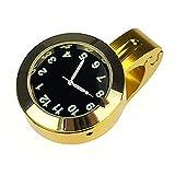 KEENSON Motorrad-Lenker-Watch-Fahrradhandgriff-Bar-Halterungs-Zifferblatt-Uhr wasserdichte Autozubehör, Motorrad-Lenker-Uhr Motorraduhr (Color : Gold)