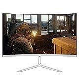 GAOLIGUO 24 Zoll LED Monitor, Curved Monitor (Full HD 1920x1080 IPS, 75Hz Gaming Monitor, Eye-Care, neigbar, HDMI, VGA, MVA, 1ms Reaktionszeit),White