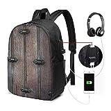 XCNGG Laptop-Rucksack, 17-Zoll-College-Schulrucksack mit USB-Ladeanschluss, lässiger Tagesrucksack für unterwegs (Scheune mit rustikalen Planken aus Alter Holztür)