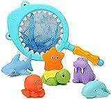 Dulabei 7 Stück Badespielzeug Baby ab 1 2 3 Jahr, Badewanne Spielzeug Kinder, Badewannenspielzeug mit Fischernetz