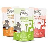 MjAMjAM - Premium Nassfutter für Katzen - Mixpaket 1 - Huhn, Rind, Herzen, 12er Pack (12 x 125 g), getreidefrei mit extra viel Fleisch