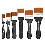 Flachpinsel 6 Stück (2-7cm),otutun Farbpinsel Malerpinsel,Aquarell Ölmalpinsel Pinselset zum Malerei für Malerei-Ölmalerei oder auch als Werkzeugpinsel für Künstler und S