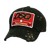 Kantenschleifen Vintage Baseball Cap Golf-Hut mit Dsquared Bestickt, Unisex Netzs Caps Vati-Hut,Schwarz