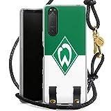 DeinDesign Carry Case kompatibel mit Sony Xperia 5 II 5G Hülle mit Kordel aus Leder Handykette zum Umhängen schwarz Gold Wappen SV Werder Bremen Log