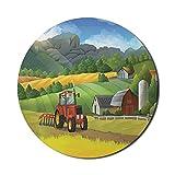Scenic Summer Mouse Pad für Computer, ländliche Schönheit Cartoon Farm mit Rocky Mountain Landwirtschaft Themen Grafik, Runde rutschfeste dicke Gummi Modern Gaming Mousepad, 8 'rund, mehrfarbig