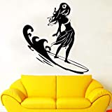 Boezhl Sexy Surf Mädchen Wandaufkleber Abziehbilder Surf Sport Aufkleber nach Hause Wohnzimmer Kunstdekoration abnehmbar 102x111cm