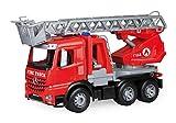 Lena 04615 Worxx Feuerwehr Leiterwagen Mercedes Benz Arocs, Feuerwehrauto ca. 48 cm, Feuerwehrwagen mit drehbarer & ausfahrbarer Leiter und Wasserspritze, Robustes Spielauto für Kinder ab 3 Jahren