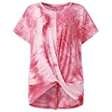 T-Shirt Damen Sommer Rundhals Sportshirt Oberteile Knick Dekonstruktion Pullover Top Rundhals-T-Shirt Leggings Tunika Lose Plus Size Bluse Tops Sweatshirt