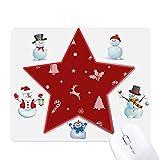 Mousepad mit Schneeflocke, Elch, Krücke, Glöckchen, Schneemannfamilie, S