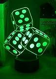 Jinson well 3D Würfel Lampe led Illusion Nachtlicht, 7 Farbwechsel Touch Switch Tisch Schreibtisch Dekoration Lampen perfekte mit Acryl ABS Base USB Kabel Spielzeug