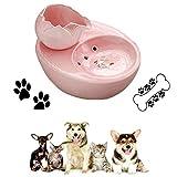 FECTY Katzenbrunnen Cat-Wasser-Brunnen - Keramik bewegliches Haustier Wasser-Zufuhr, automatisches Circulation Wasser, Flüsterleises Pet Supplies tragbar (Color : Pink)