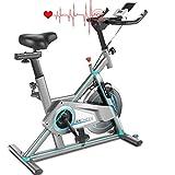 ANCHEER Heimtrainer, Fitnessbike Indoor Cycling Bike Riemenantrieb mit APP-Anschluss, Einstellbarer Widerstand,Pad/Telefonhalter,LCD-Monitor, Leise für das Cardio-Training im Fitnessstudio zu Hause