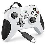Kilcvt Kabelgebundener Gaming-Controller, Kabelgebundenes Xbox-Controller-Gamepad Mit Dual Vibration USB Und 3,5-mm-kopfhörerbuchse Kompatibel Mit Xbox One S/X/Windows-pc (weiß)