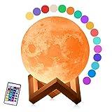 LED Mond Lampe, 15cm 3D Druck Nachtlampe, Dimmbar 16 Farben Remote & Touch Control Nachtlicht Stimmungslicht mit Holzhalterung für Kinderzimmer Schlafzimmer Cafe Bar Esszimmer
