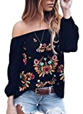CORAFRITZ Damen Embroided Sweatshirts Off Shoulder Floral Print Jumper 3/4 Sleeve Loose Fit Blouse Tunic Top