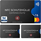 TÜV geprüfte NFC Schutzhülle (3 Stück) aus Kunststoff für Kreditkarte Personalausweis EC-Karte Bankkarte - 100% NFC-Schutz - Kreditkarten Schutz-Hülle RFID-Blocker Kreditkartenhülle abgeschirmt