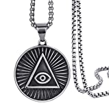 QAZXCV Edelstahl Herren Anhänger Illuminati Das All-Seehuck-Eye-Illunati-Pyramide/Augensymbolkettenkettenkettenhalsketten
