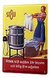 Blechschild Dekoschild Küche Garage Nostalgie Wand Deko Schild Waschmaschine Wäschekorb Strom Werbung 20X30 cm