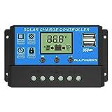 ALLPOWERS Solar-Ladegerät, 20 A, Controller, Solarpanel-Akku, intelligenter Regler mit USB-Port-Display 12V / 24V