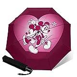 Mickey Cartoon Maus Minnie Automatischer Dreiklappschirm Leicht und tragbar für sonnige und regnerische Zwecke, Sonnenschutz und UV Beweis