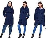 Be Mama - Maternity & Baby wear 3in1 - Winter Tragejacke & Umstandsjacke & Damenjacke Parka in einem, kuschelig warm und wasserabweisend, Winterjacke Pauline, dunkelblau, S