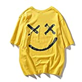 WANCHDP Herren Basic T Shirt Farbanpassung Smiley T Shirt(Unisex Tshirt Gr. S/M/L/XL/2XL)