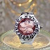 FENGCLOCK Transparente dreidimensionale Sun Flower Finger Watch Clamshell Ring Uhr, Zifferblatt einstellbar dehnbares Armband Unisex-Fingeruhren,pink